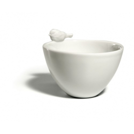Bisque porcelain bowl red-throat
