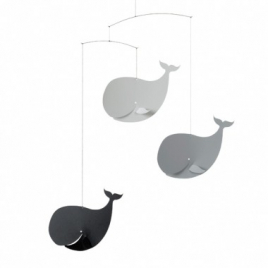"Mobile ""Happy Whales, black/grey"""