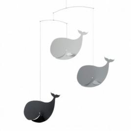 "Mobile ""Happy Whales, black/grey"""