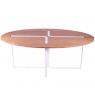 Table design chêne et métal blanc Sangle Ovale - Design Jocelyn Deris sur LaCorbeille.fr