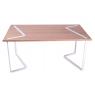 bureau design rectangulaire en chêne et métal laqué blanc sur LaCorbeille.fr