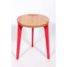 Tabouret rouge design en chêne sur LaCorbeille.fr