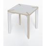 Table carrée blanche et contreplaqué de bouleau Série x Design Benjamin Faure sur LaCorbelle.fr