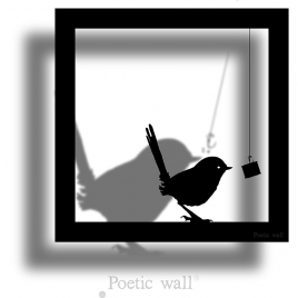 "Sticker frame shadow ""gourmand bird"""