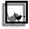 Sticker Cadre Ombre Oiseau Gourmand