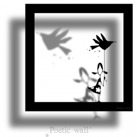 Sticker frame shadow Little Girl