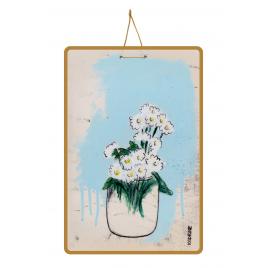 Affiche 100DRINE Lisbonne 2 - Fond bleu / Fleurs blanches