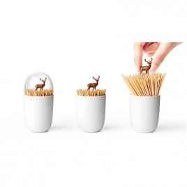 """Boîte pour pics apéritifs """"cerf"""" de la marque Qualy sur LaCorbeille.fr"""