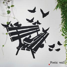 Sticker Sur un banc de la collection Poetic Wall sur LaCorbeille.fr