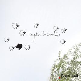 """Sticker """"Compter les Moutons"""" de la collection Poetic Wall sur LaCorbeille.fr"""