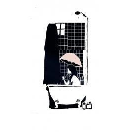 """Sticker Petit Murmure """"Douche à L'ombrelle"""" du duo Mel et Kio pour la collection Les Petits Murmures sur LaCorbeille.fr"""