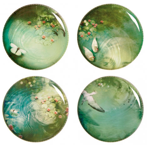 Set of 4 melanine plates Yuan - design Ibride