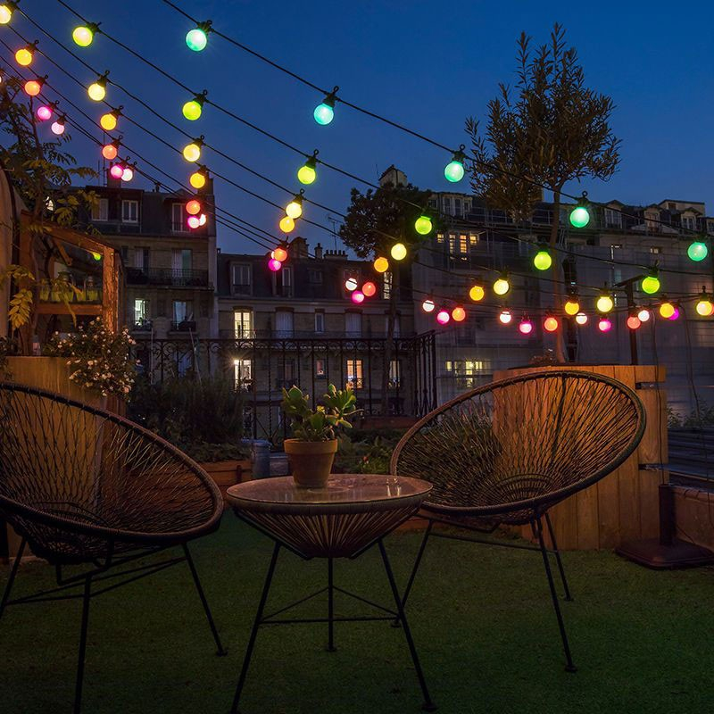 guinguette outdoor light garland by la case de cousin. Black Bedroom Furniture Sets. Home Design Ideas