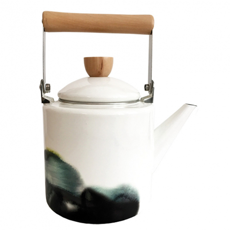 Enamel Watercolor Teapot