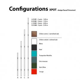 Support mural 5 pots Xpot 04 de la marque Compagnie sur LaCorbeille.fr