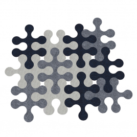 "Felt carpet ""Molecule"" x12 ( light grey, dark grey, ecru)"