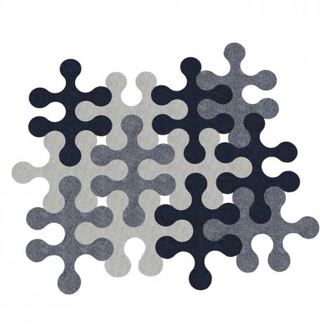 Tapis modulable en feutre Molecules 12 pièces design Nathalie et Cyril daniel sur LaCorbeille.fr