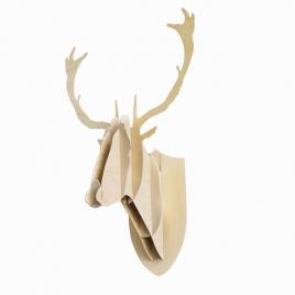 Trophée tête Cerf bois Design Big Game pour Moustache sur LaCorbeille.fr
