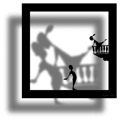 Sticker frame shadow Romeo and Juliette