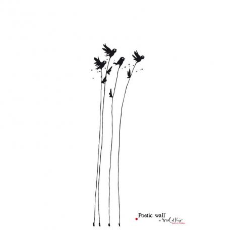 "Sticker ""Flowers Sparrows"""