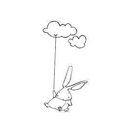 Sticker Lapin Nuage