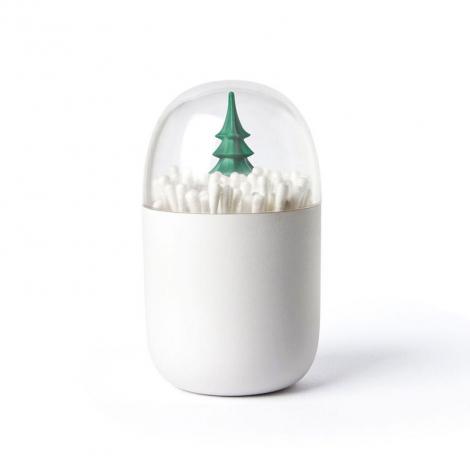 Boîte pour cotons tige avec décor de la marque Qualy sur LaCorbeille.fr