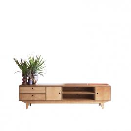 Low Sideboard in wood with doors