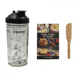 Coffret MIAM : shaker à crêpes, recette et spatule