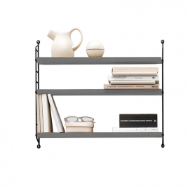 STRING shelf in grey with black sides - Depth 20cm