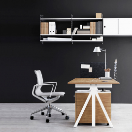 STRING shelf in white with grey sides - Depth 20cm