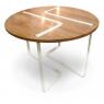 Table design ch^ne et métal blanc Sangle ronde design Jocelyn Deris pour LaCorbeille.fr
