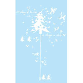 Silver sticker of a christmas tree